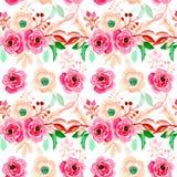 Blom- illustrationmodell för sömlös vattenfärg royaltyfri illustrationer
