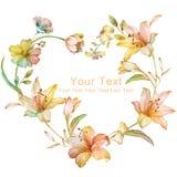 Blom- illustrationsamling för vattenfärg ordnat FN för blommor en form av den perfekta kransen Royaltyfri Foto