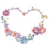 Blom- illustrationsamling för vattenfärg ordnat FN för blommor en form av den perfekta kransen Royaltyfria Bilder
