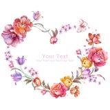 Blom- illustrationsamling för vattenfärg ordnat FN för blommor en form av den perfekta kransen Fotografering för Bildbyråer