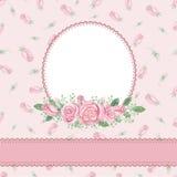 Blom- inbjudan för tappning, kort rose vattenfärg royaltyfri illustrationer