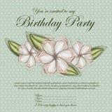 Blom- inbjudanfödelsedag royaltyfri illustrationer
