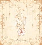 Blom- inbjudankort för tappning Royaltyfri Bild