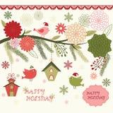 Blom- julfågel, fågelhus, blom- ramar, fågel, julinbjudan stock illustrationer