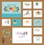 2018 blom- kalender med fåglar Arkivfoton