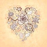 Blom- klotterhjärta för vektor, av blommor, sidor Royaltyfri Bild