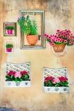 Blom- konst - töm ramar med blom- krukor på väggen Arkivfoton