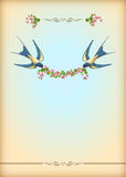 Blom- kort för bröllopparti med blommor, fåglar Royaltyfri Fotografi