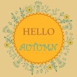 Blom- kort för Hello höst Royaltyfri Foto