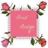 Blom- kort för inbjudan med beståndsdelar för blom- design arkivfoto