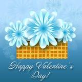 Blom- kort för St-valentin Royaltyfri Bild