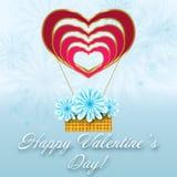 Blom- kort för St-valentin med ballongen av hjärtor Arkivbilder