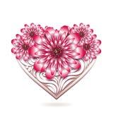 Blom- kort för St-valentin med dekorativ hjärta Arkivfoton
