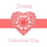 Blom- kort för St-valentin med den stiliserade hjärta och remsan Royaltyfri Bild
