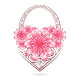 Blom- kort för St-valentin med den stiliserade korgen Fotografering för Bildbyråer