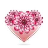 Blom- kort för St-valentin med stiliserad hjärta Arkivbilder