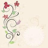 Blom- kort för tappning vektor illustrationer