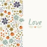 Blom- kort med hjärta Arkivfoto