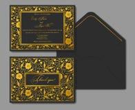 Blom- kortdesign för vektor: guld- vallmo för trädgårds- blomma på en svart Arkivbilder