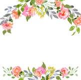 Blom- kortmall för vattenfärg royaltyfria bilder