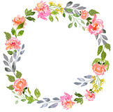 Blom- kortmall för vattenfärg royaltyfri bild