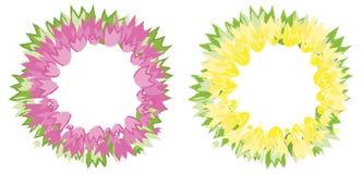 Blom- krans av tulpanblommor Rosa färg- och gulingfärger Mall hälsningkort, affischer Arkivbilder