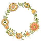 Blom- krans, dekorativ ram Fotografering för Bildbyråer