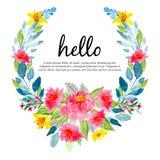 Blom- krans för färgrik vattenfärg, hälsning royaltyfri illustrationer