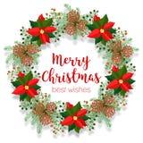 Blom- krans för jul, rund ram, tomt baner, julstjärnagemkonst, vektorillustration på vit Royaltyfri Foto
