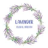 Blom- krans för lavendel, hand dragen design också vektor för coreldrawillustration Royaltyfria Foton