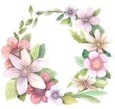 Blom- krans för vattenfärg Royaltyfri Foto