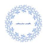 Blom- krans för vattenfärg Stock Illustrationer