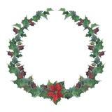 Blom- krans för vattenfärgjul med julstjärnan Räcka den målade snowberryen, och granfilialer, röda bär med sidor, sörjer kotten vektor illustrationer
