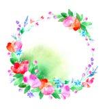 Blom- krans Girland med den vallmoblomman, klockan, bäret och örten Royaltyfri Bild