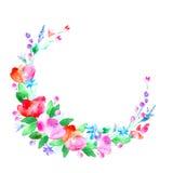 Blom- krans Girland med det vallmoblomman, bäret och örten Arkivfoto