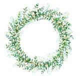 Blom- krans Girland med liljekonvalj- och eukalyptusfilialer Arkivfoton