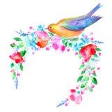 Blom- krans och fågel Arkivfoto