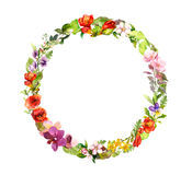 Blom- krans Sommarängblommor, fjärilar vattenfärg royaltyfri illustrationer