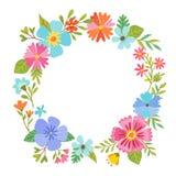 Blom- kransdesign för färgrik vår Arkivbilder