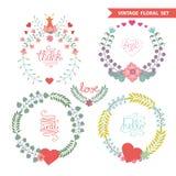 Blom- kransuppsättning för gullig tappning med hjärtor royaltyfri illustrationer