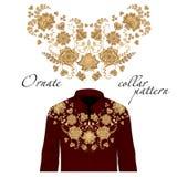 Blom- krullningshalsbroderi för blusar Vektor illustration Garnering för kläder Främre kragedesign vektor illustrationer