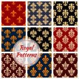 Blom- kungliga prydnad- och damastmodeller royaltyfri illustrationer