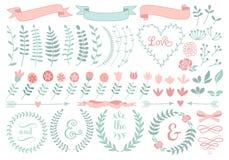Blom- lagerkrans, uppsättning royaltyfri illustrationer