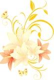 blom- liljaprydnad för fjärilar Royaltyfri Fotografi