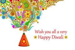 Blom- lyckliga Diwali royaltyfri illustrationer