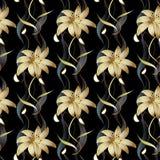 Blom- lyxig sömlös modell Randig blom- baksida för vektorsvart Royaltyfri Foto