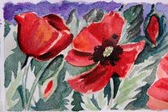 blom- målad vattenfärg royaltyfri illustrationer
