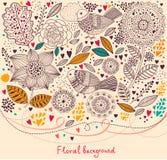 Blom- mönstra med fåglar Arkivfoton
