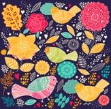 Blom- mönstra med fåglar Arkivfoto