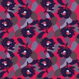 Blom- mönstra på röd bakgrund stock illustrationer